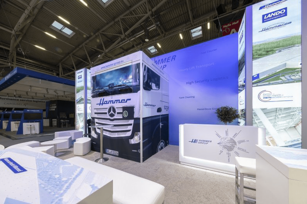 Trade fair concept Hammer at the Transport logistic in Munich
