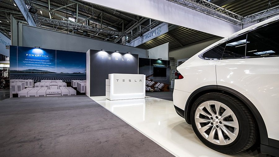 Exhibition stand RocketExpo Intersolar München Tesla