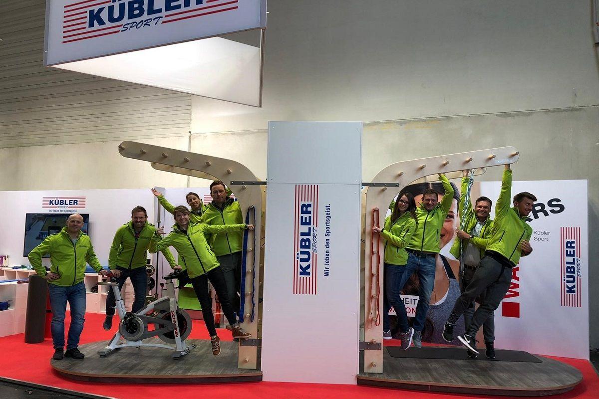 Exhibition stand construction team Fibo Cologne Kübler Sport