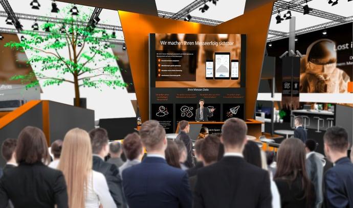 Konferenzhalle mit Rednerbühne auf der Virtuellen Messe