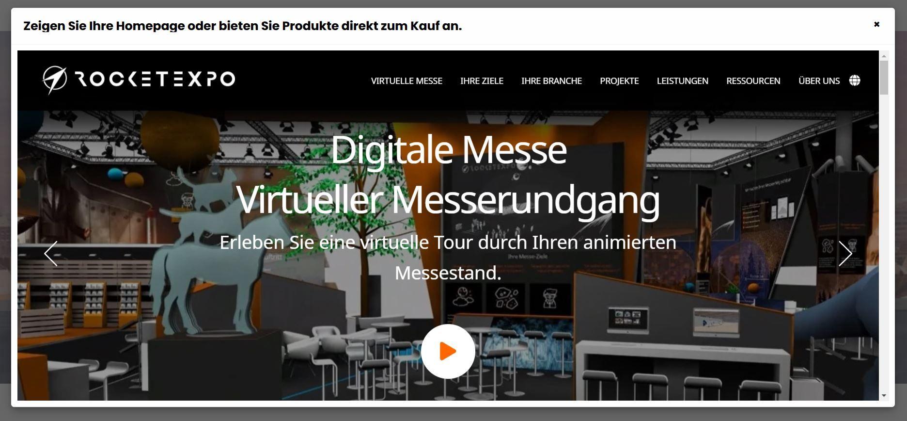 Einbindung von Websites im virtuellen Messestand